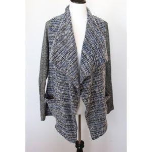 Lucky Brand Blue Gray Cardigan Sweater Wrap Sz S